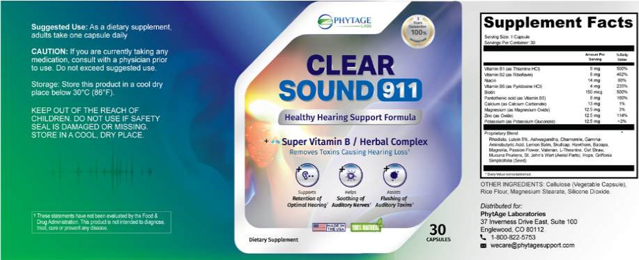 PhytAge Labs Clear Sound 911 Supplement - Ingredients Benefits