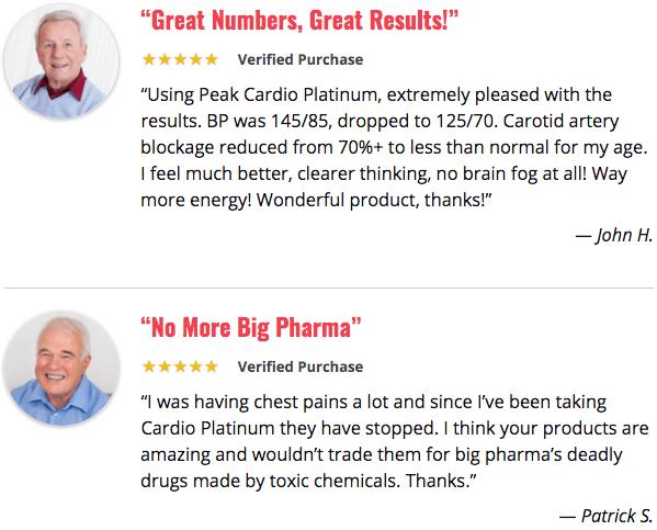 Peak Cardio Platinum Testimonials