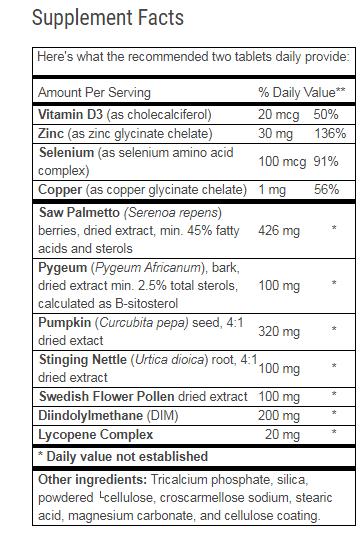 Advanced Prostate Formula Ingredients List